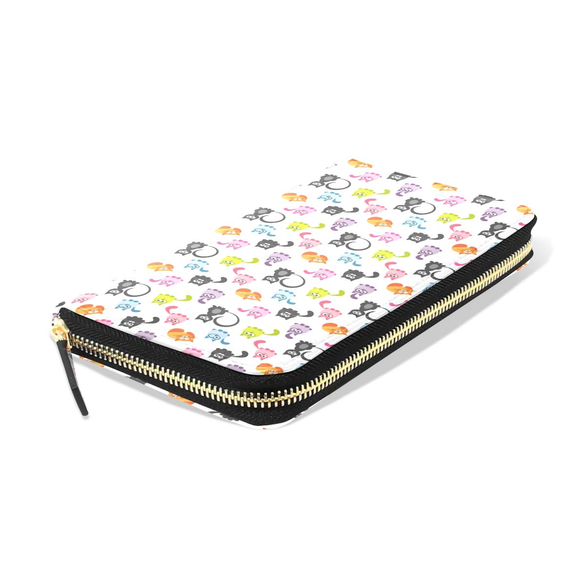 Women Cute Colorful Cats Leather Wallet Large Capacity Zipper Travel Wristlet Bags Clutch Cellphone Bag