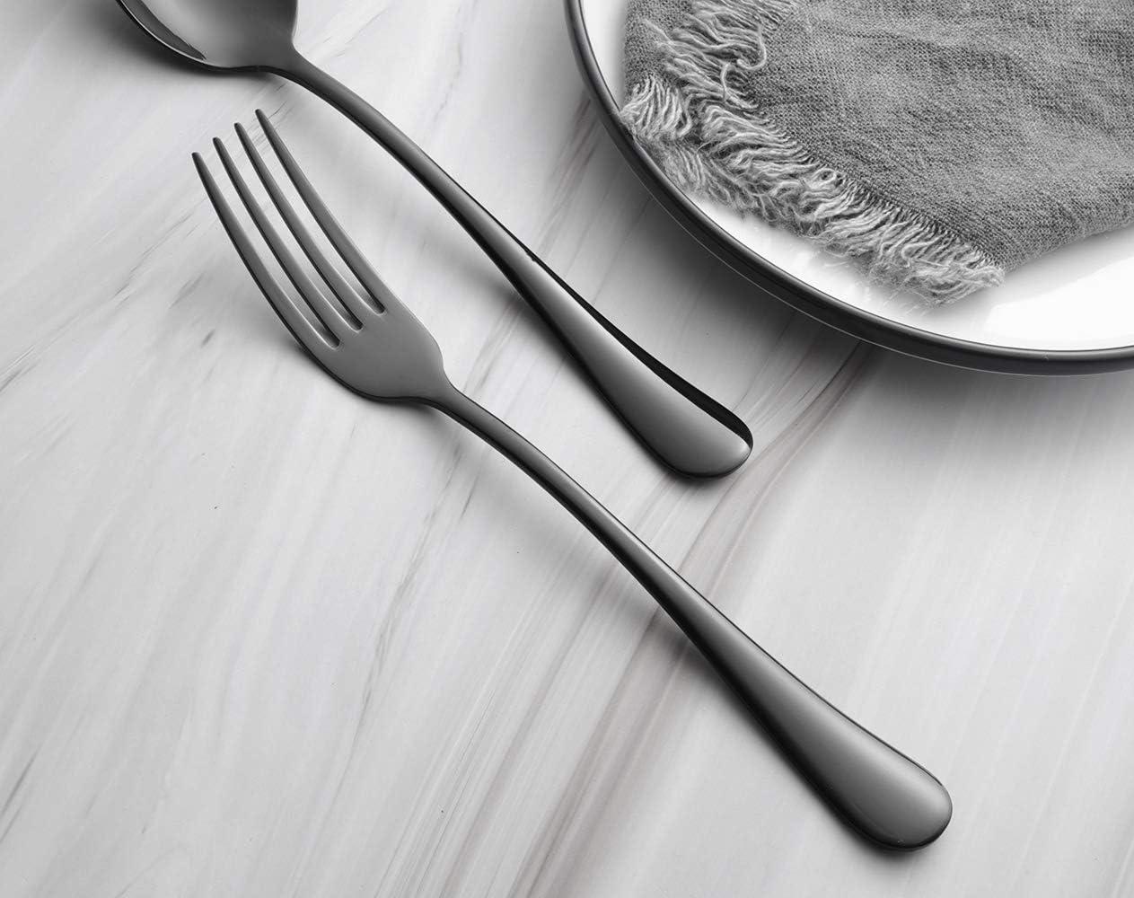 Dishwasher Safe Mirror Polishing Black Heavy Dinner Forks Set of 6 Black Stainless Steel 18//10 Flatware Silverware 7.95-Inch Table Forks 6-Piece