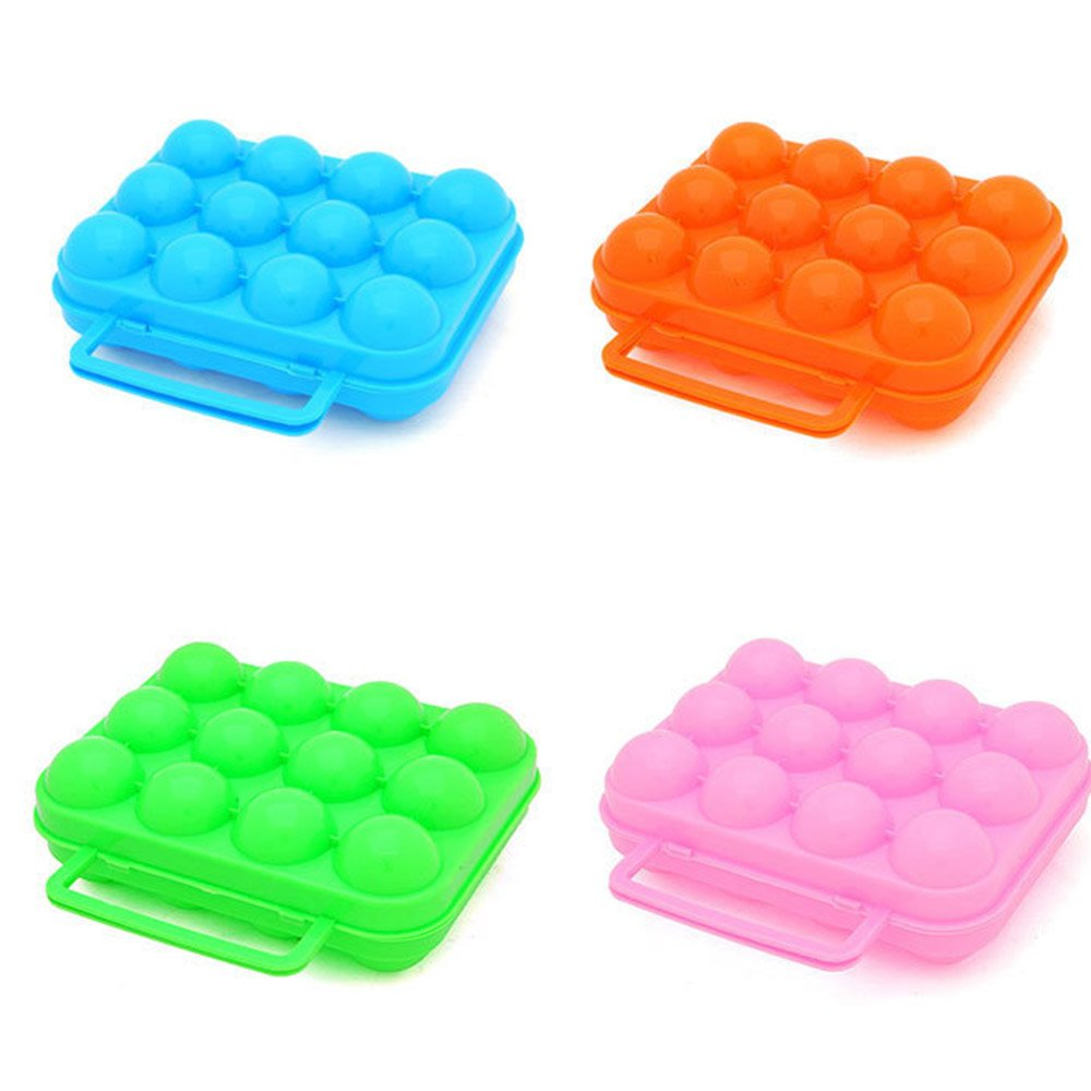 Guerbrilla 2 Sets 6 Grids Egg Container for Picnic, Camping, Eggs Dispenser Storage Container Plastic Box for Outdoor, Random Color (6 grids)