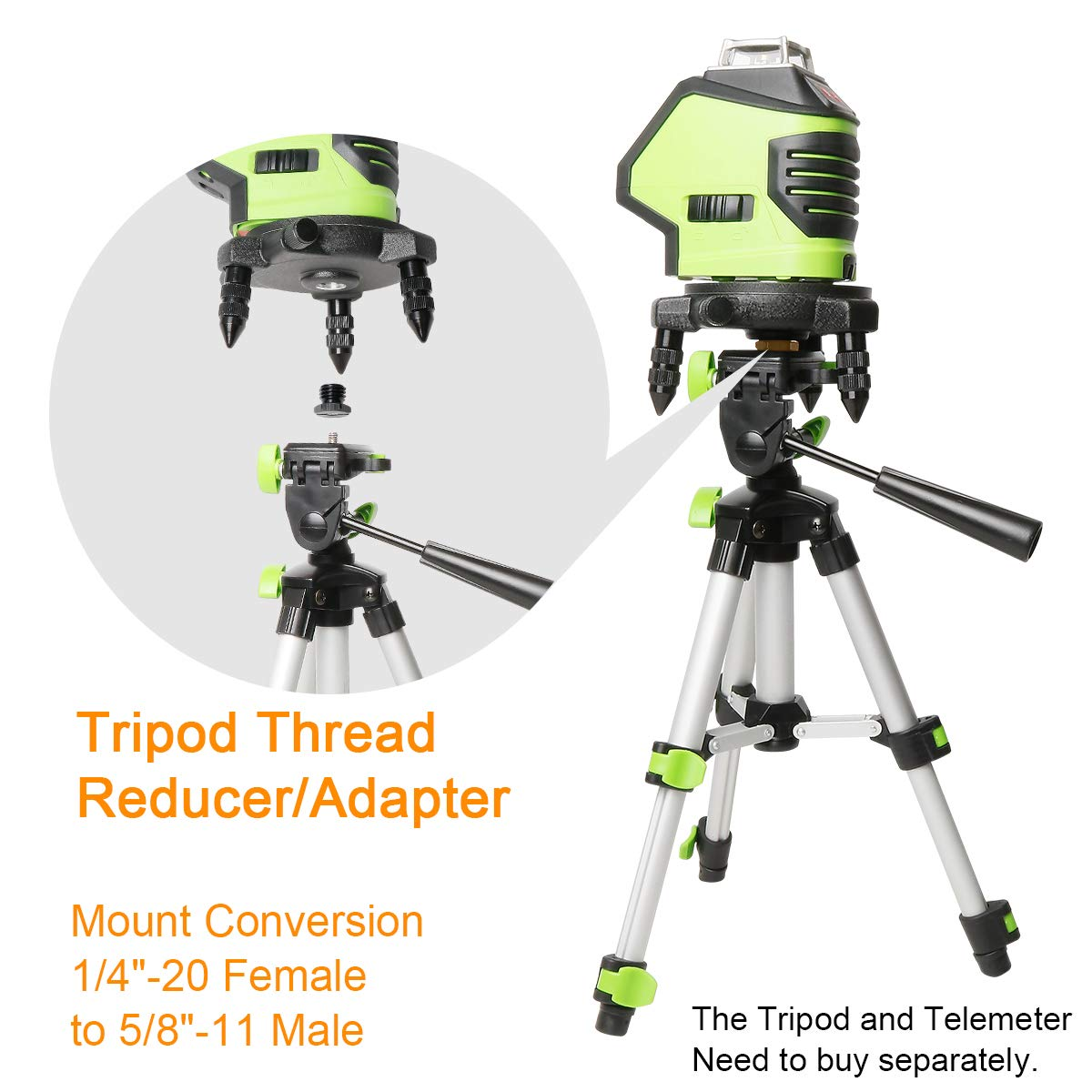 Adaptador de rosca tr/ípode Huepar de 2 pieza tornillo de reducci/ón//adaptador de conversi/ón de montaje 1//4-20 hembra a 5//8-11 macho para polo l/áser de tr/ípode