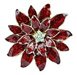 Charter Club Gold-Tone Red Holiday Poinsettia Brooch Pin Red