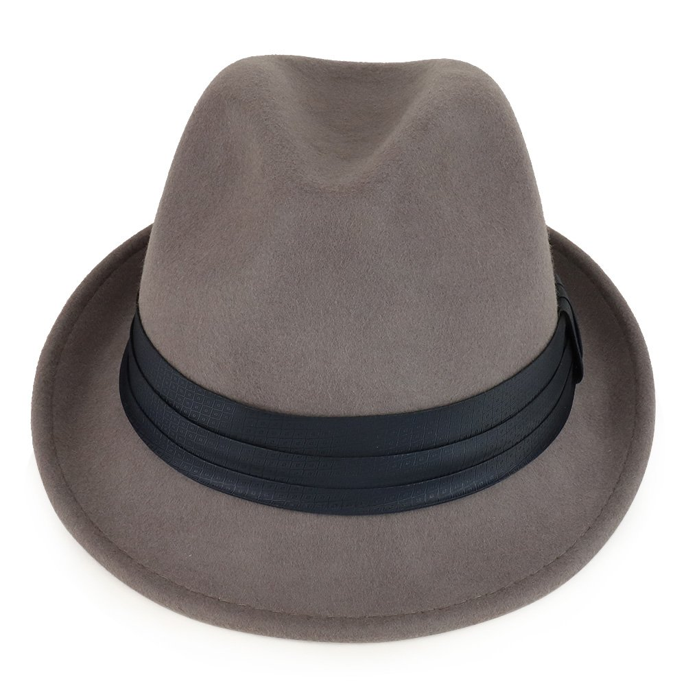9522aaa0800 XXL Big Size Wool Felt 2 Inch Brim Trilby Fedora Hat with Satin Hat Band -  GREY at Amazon Men s Clothing store