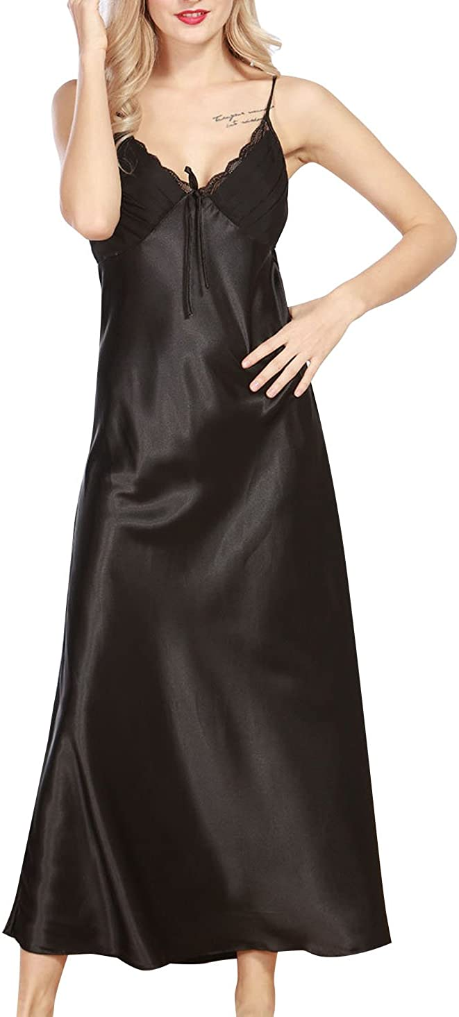 April Li Womens Imitation Silk Pajamas Adjustable Shoulder Floral Lace Trim Night Dress