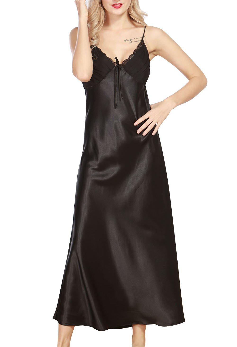 4Ping Women's Spring and Summer Imitation Silk Pajamas Long Paragraph Split Sexy Sling Sleep Dress Black L