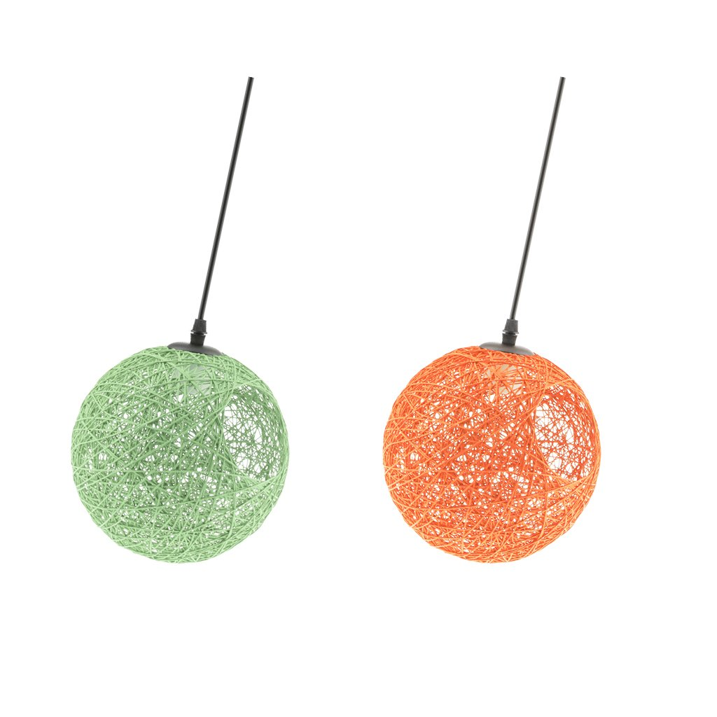 Homyl 2pcsAbat-jour au Plafond Lampe Suspendue de Boule Décoration pour Chambre Salon Cuisine Bar Café Restaurant Mariage Fête 20cm Orange + Vert