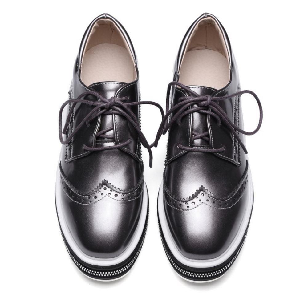 11f7071d Zanpa Mujer Moda Cordones Plataforma Oxford Zapatos (39EU, Gunmetal):  Amazon.es: Zapatos y complementos