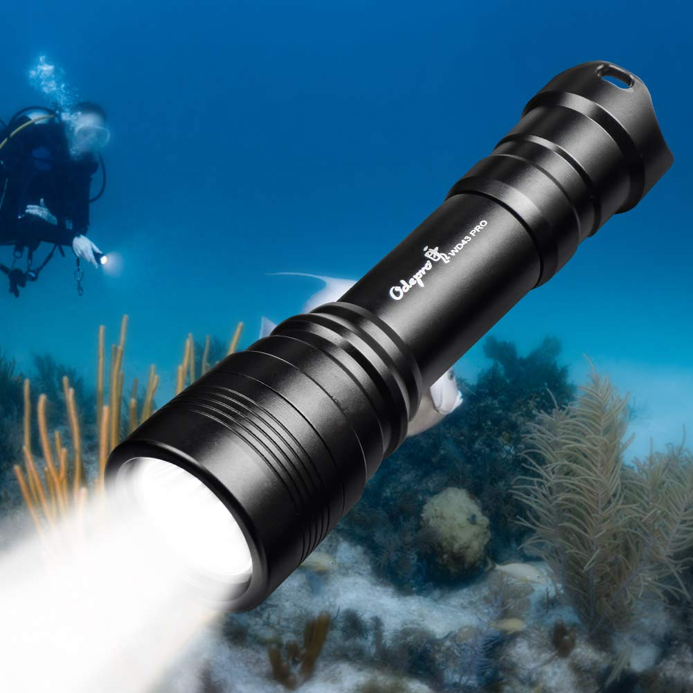 Odepro WD43 PRO Diving Flashlight 1050 lumens Waterproof Underwater 200M Tail Magnetic Switch Scuba Diving Four Modes Underlight Torch, Diving Backup Light, Durable Tool Box Package by Odepro