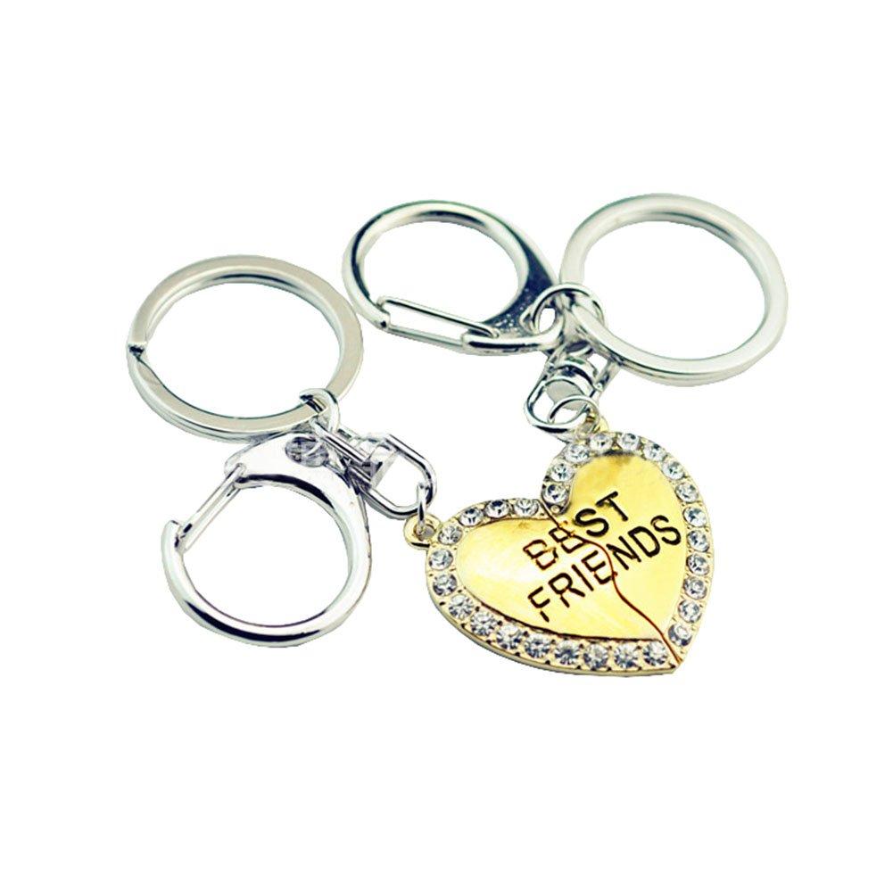 2 Pcs Best Friends Keychain Crystal BFF Lovers Engraved Broken Heart Couple Keyring Set JiangYan-US JY-KE-01-0013
