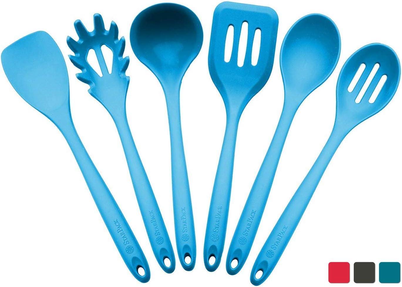 StarPack Premium XL Silicone Kitchen Utensil Set (6 Piece), High Heat Resistant to 600°F, Hygienic One Piece Design, Large Non Stick Spatulas & Serving Utensils - Teal Blue