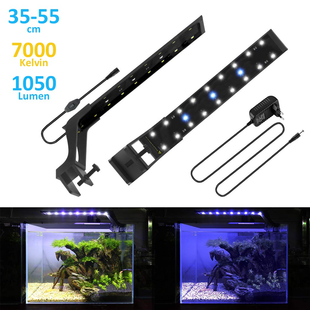 BELLALICHT Rampe LED Aquarium Éclairage LED Aquarium 20W Bleu & Blanc Lumiere Aquarium Plantes Lampe LED pour 75-90cm Aquarium - 7000K