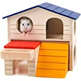 Mrli Pet Hamster Houses and Hideouts-Small Animal Hideout Hamster House Deluxe Two Layers Wooden Hut Play Toys