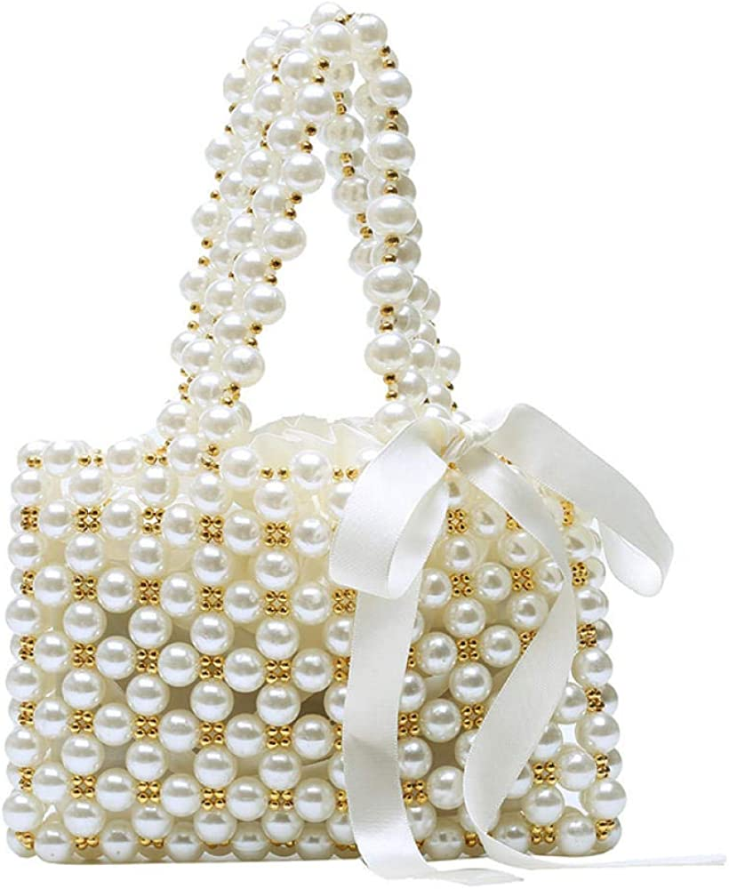 Ribbon Gold Beaded Handbag Womens Beaded Handbags Handmade Weave Crystal Pearl Tote Bags Evening Bag Wedding Clutch