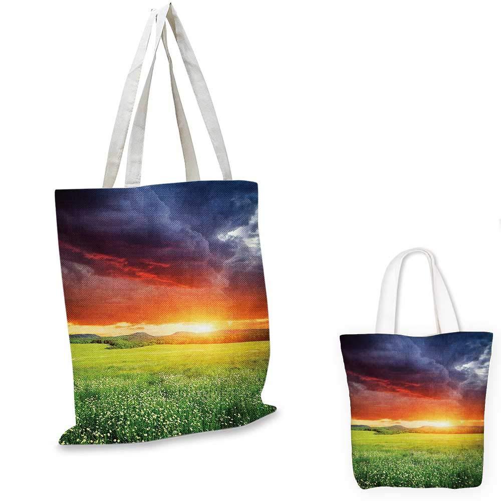 12x15-10 Nature canvas messenger bag Ocean Waves in the Morning an Sun Sky above Mountain Foggy Horizon Surreal Scenery canvas beach bag Lilac Teal