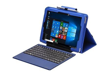 i-UniK 2017 New RCA 10 1 Cambio Compatible Model #W101SA23T1S Windows  Tablet Folio Case [Bonus Stylus] (Blue)