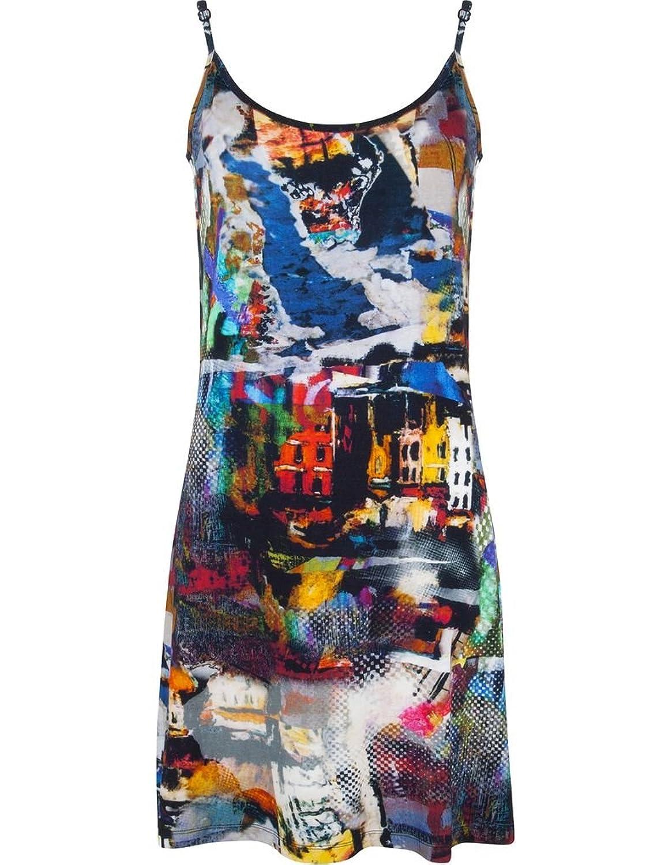Pastunette 1071-399-0-999 Women's Black and Multicoloured Impressionist Print Viscose Kaftan