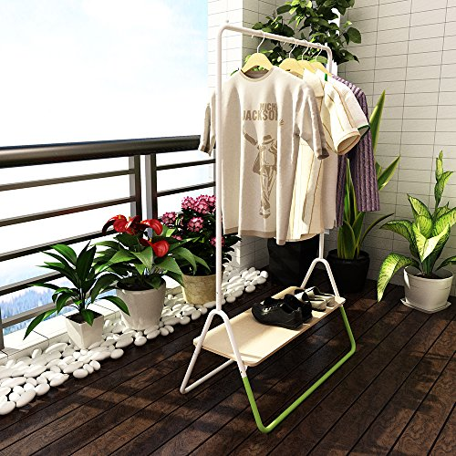 Creatwo Garment Rack with Wood Shelf Portable Metal Clothes Rack Laundry Clothes Drying Rack, White/Green by Creatwo (Image #4)