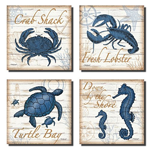 Nautical Kitchen Decor - 4 Under the Sea Creatures Crab Seahorse Turtle and Lobster; Coastal Decor; Four 12X12in Poster Prints. Blue/Brown by Gango Home Decor