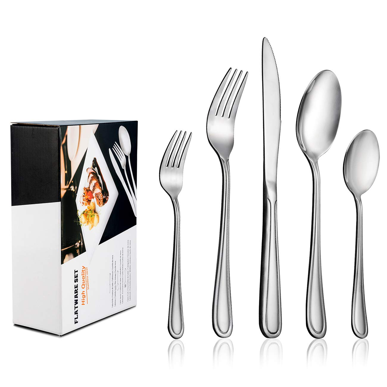 60-Piece Flatware Set for 12, LIANYU Stainless Steel Silverware Cutlery Set, Tableware Eating Utensils for Large Family Party Restaurant Hotel Wedding, Mirror Finish, Dishwasher Safe