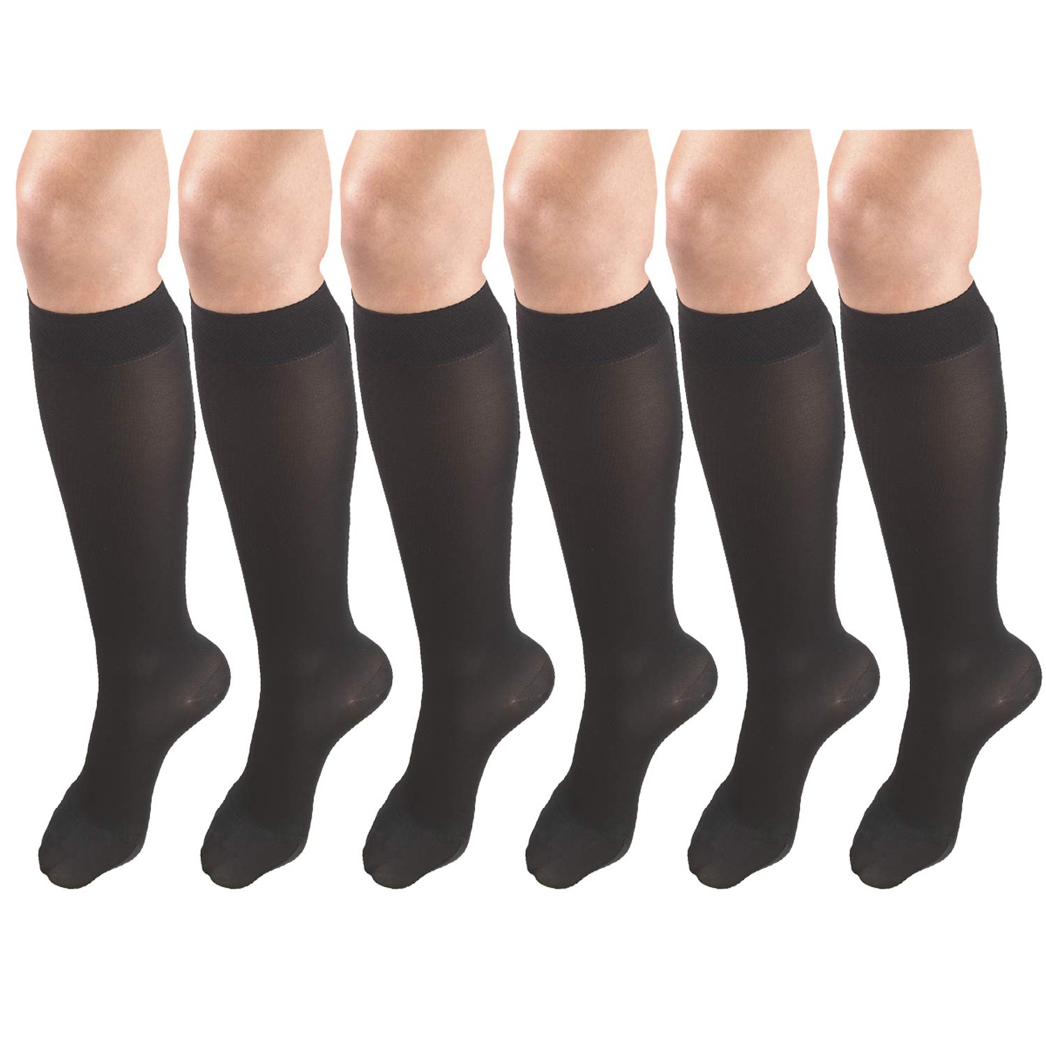 Women's Compression Stockings, 20-30 mmHg, Knee High Length, Closed Toe, Opaque Black Large (6 Pairs)