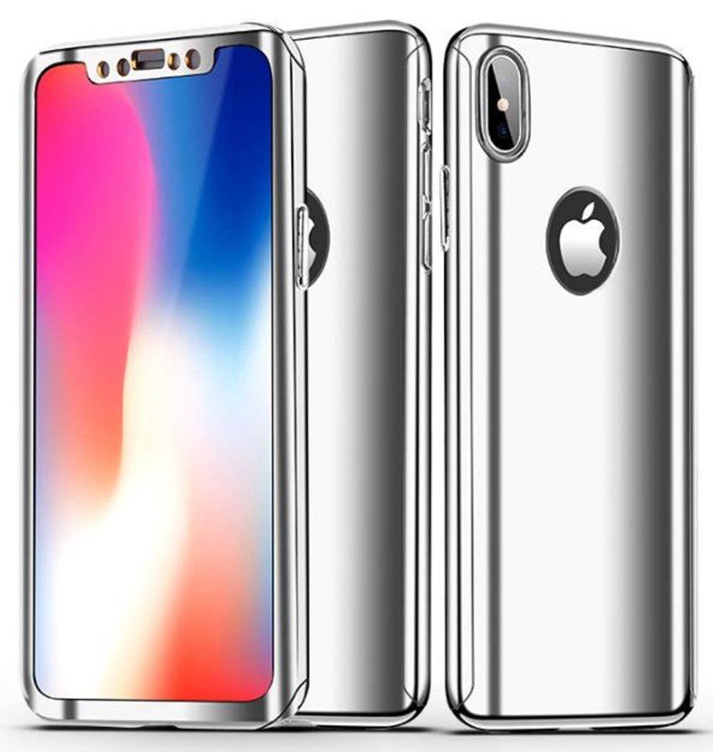 iPhone x Sleekフルボディcase-lozeguycメッキミラーガラススリムフロントバックハードケースfor iPhone X 5.8インチ強化ガラススクリーンプロテクター付き360度フル保護耐衝撃 iPhone 8 Plus 5.5 Inch シルバー B07BHDZK8F iPhone 8 Plus 5.5 Inch シルバー シルバー iPhone 8 Plus 5.5 Inch