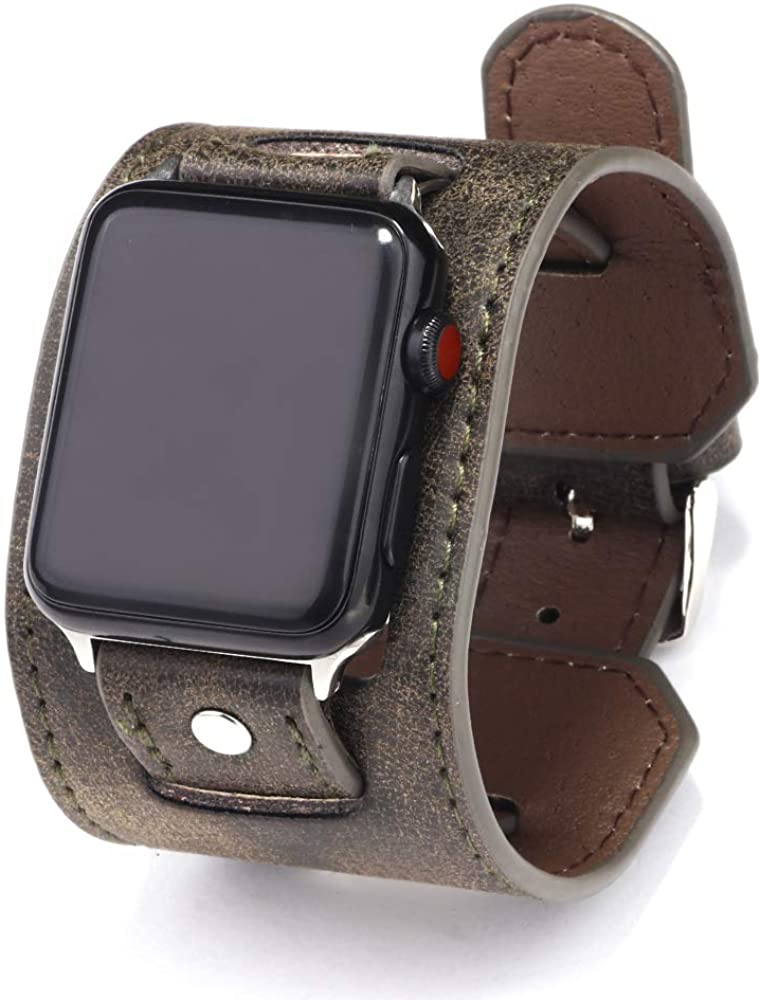 NIGHTCRUZ Compatible with Leather Apple Watch Band - Wide Leather Adjustable Bracelet for Apple Watch Series 5/4/3 (Grey, 42mm/44mm)