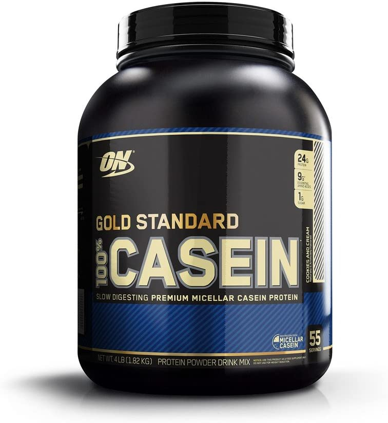 OPTIMUM NUTRITION GOLD STANDARD 100% Micellar Casein Protein Powder, Slow Digesting, Helps Keep You Full, Overnight Muscle Recovery, Cookies and Cream, 4 Pound