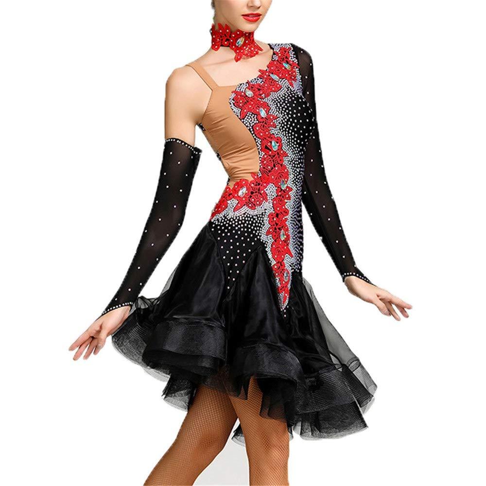レディースダンススカート レディース背中の開いたフリルラテンダンスドレス花のダイヤモンド非対称社交ダンスウェア衣装ステージパフォーマンス競争ダンスリリカルドレス (色 : ブラック, サイズ : S) ブラック Small
