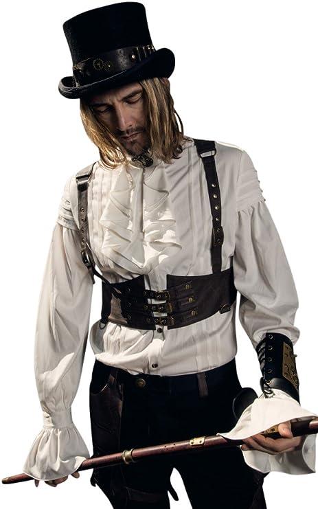 RQ de Camisa para Hombre BL Victorian – Picaporte Blanco con Chorrera spm003 Steam Punk Volantes: Amazon.es: Juguetes y juegos