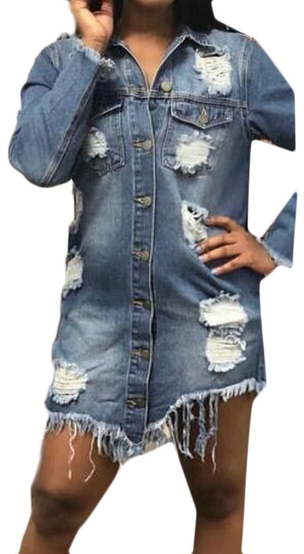 ainr Women Long Sleeved Turn Down Collar Button-Front Destroyed Ripped Hole Stylish Casual Cowboy Jackets Blue L