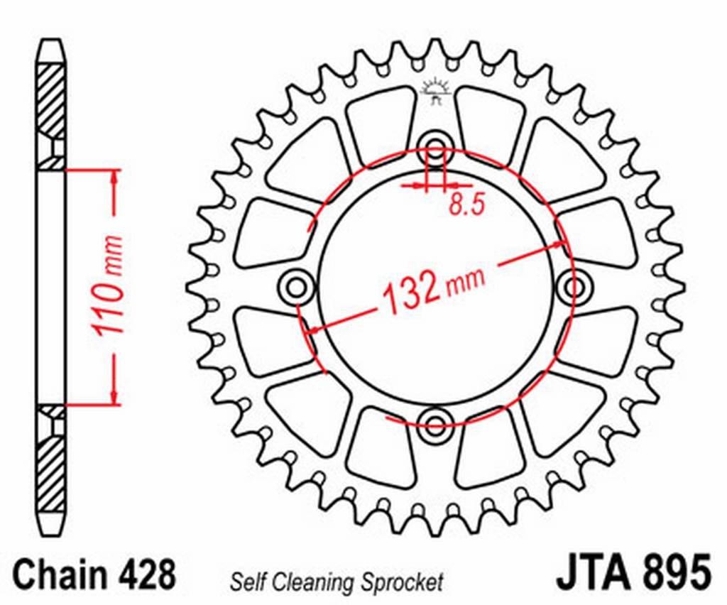 JT - A89549 : Corona plato transmision trasero aluminio JT 895