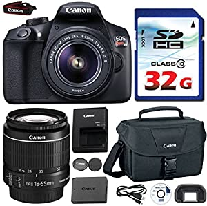 Canon EOS Rebel T6 DSLR 18mp WiFi Enabled + EF-S 18-55mm IS [Image Stabilizer] II Zoom Lens + Canon Professional Gadget Bag + Commander 32GB Class 10 Ultra High Speed Memory Card