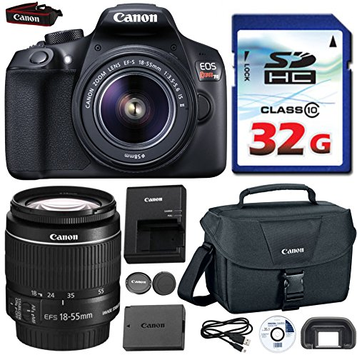 Canon EOS Rebel T6 DSLR 18mp WiFi Enabled + EF-S 18-55mm IS [Image Stabilizer] II Zoom Lens + Canon Professional Gadget Bag + Commander 32GB Class 10 Ultra High Speed Memory Card (Canon Microphone T2i)