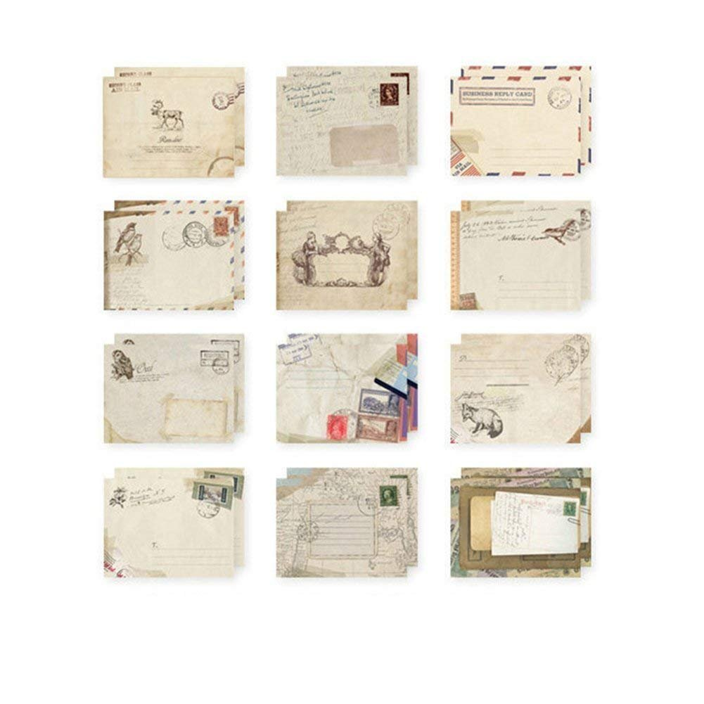 HeartService Retro Design Envelopes European Style Airmail Envelope Office Kid Holiday Stationery Mini Paper Ancient Envelope 12 Pieces