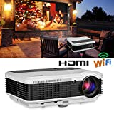 EUG Wireless Projector LED LCD Support Full HD 1080P 720P, WiFi HDMI USB VGA Ready, for Home Theater Video Games Movies Entertainment Outdoor