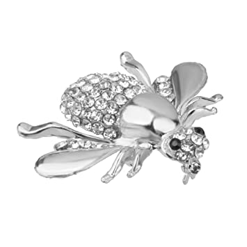 c15745dace MagiDeal Lovely Small Honey Bee Rhinestone Brooch Pin for Women Silver
