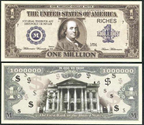 Lot of 100 Bills -Traditional Realistic $Million$ Dollar Bill W Ben Franklin Wholesale