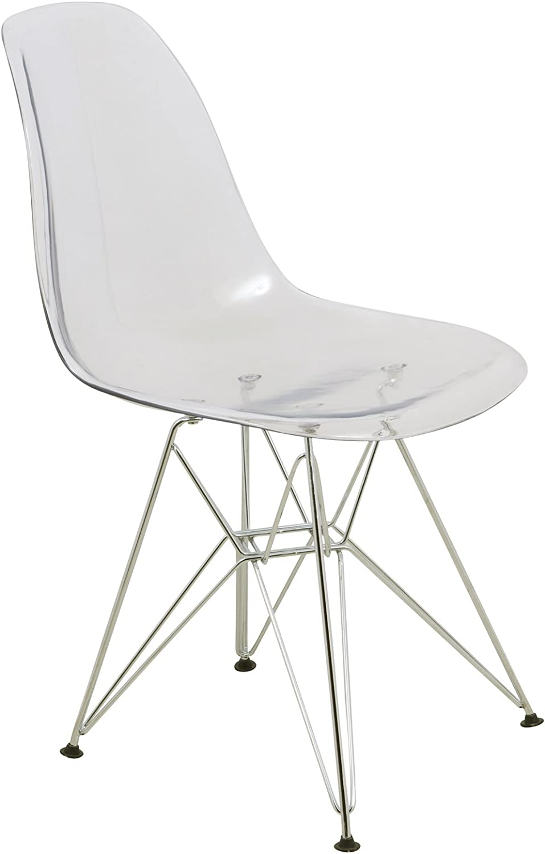 LeisureMod Carey Modern Eiffel Base Molded Dining Side Chair (Clear)