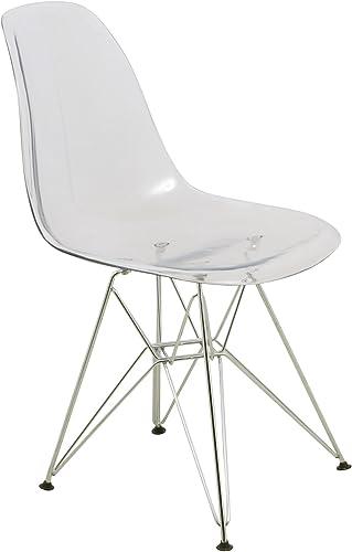 LeisureMod Carey Modern Eiffel Base Molded Dining Side Chair Clear