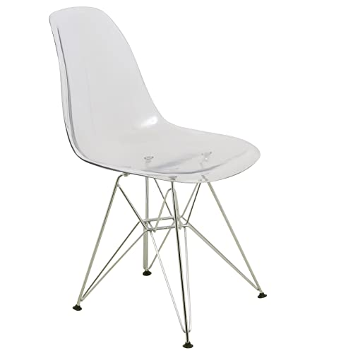 LeisureMod Carey Modern Eiffel Base Molded Dining Side Chair Clear