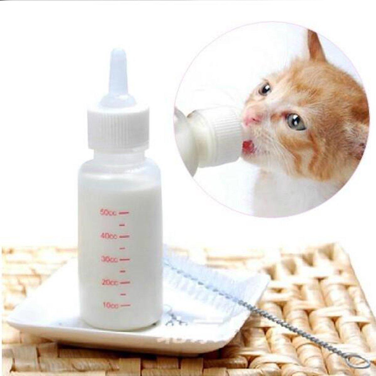 Yosoo 50ml Newborn Pet Small Dog Puppy Cat Kitten Kitty Rabbit Milk Nursing Care Pup Milk Feeding Bottle Set Milk Feeder