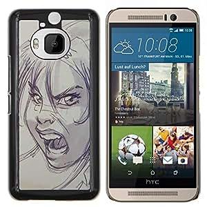 Dragon Case - FOR HTC One M9+ / M9 PLUS - scream scary Halloween sketch angry - Caja protectora de pl??stico duro de la cubierta Dise?¡Ào Slim Fit