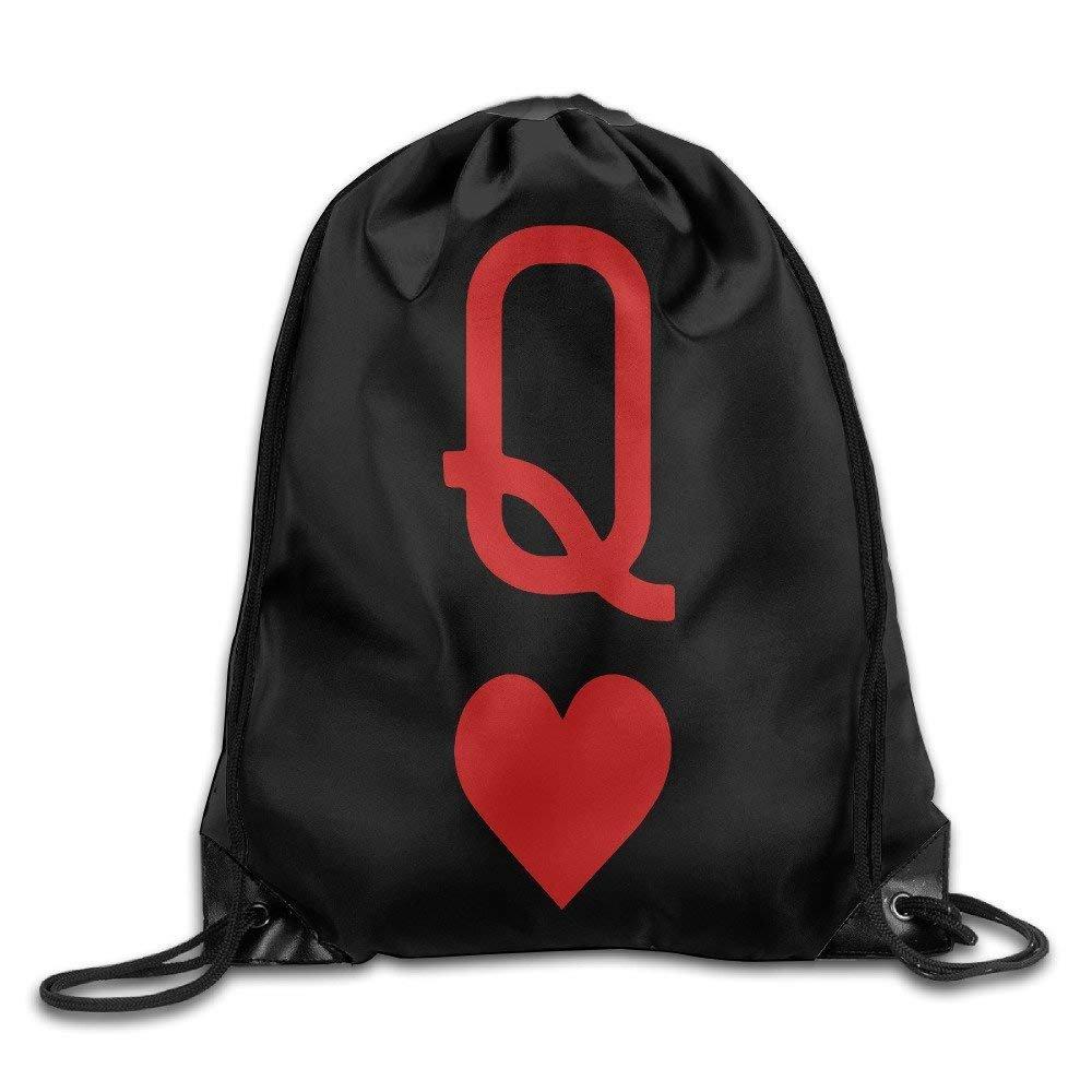 Queen Of Hearts Playing Card Logo Wonderland Drawstring Backpack String Bag