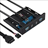 MagiDeal 3.5 Inch Front Panel USB Hub with 2 USB 3.0+ 1 HD Audio+1 Microphone Port