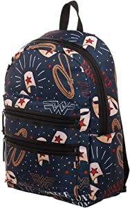 DC Wonder Woman Backpack - Double Zipper Backpack with Wonder Woman Symbols