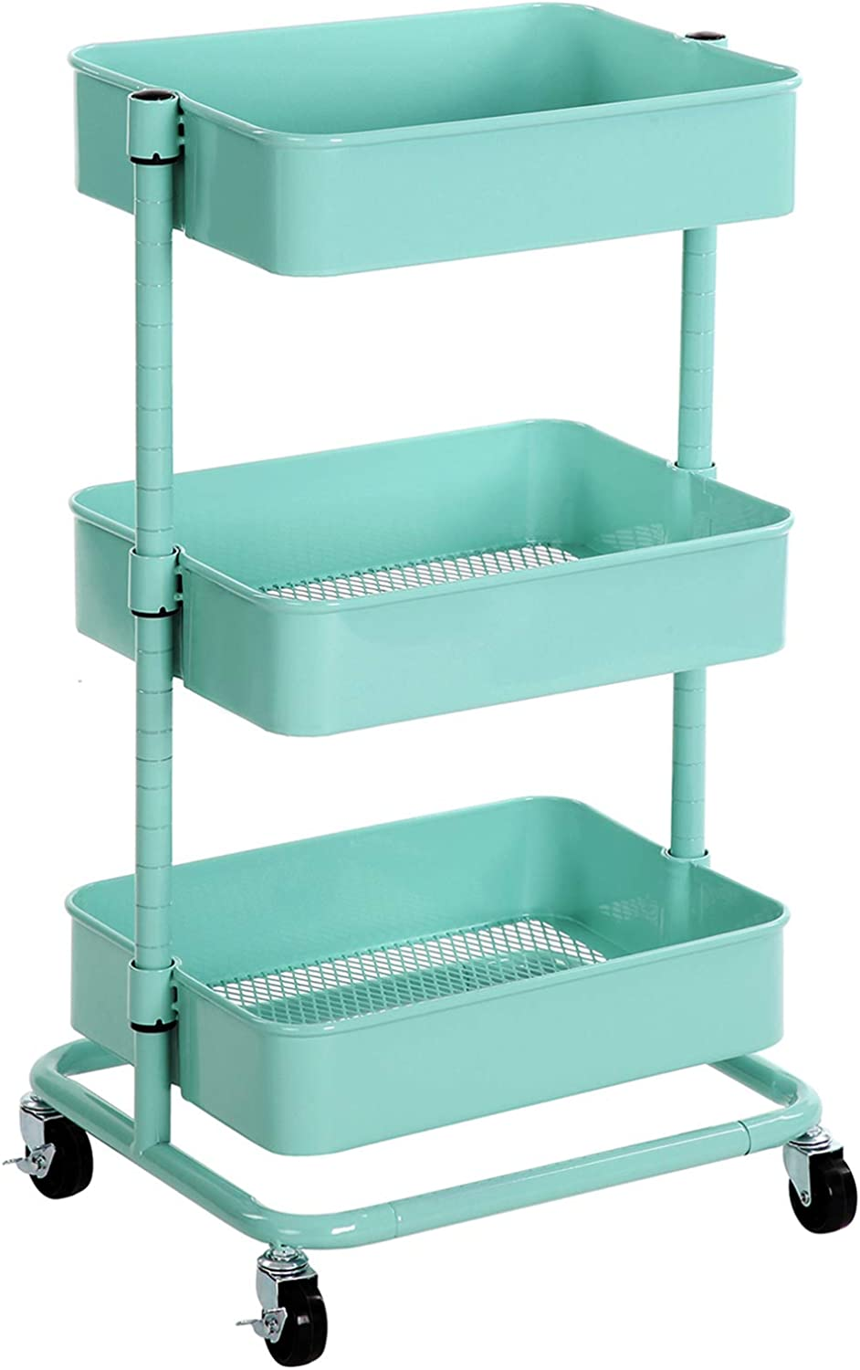 Amazon Com Songmics 3 Tier Metal Rolling Cart Utility Cart Kitchen Cart With Adjustable Shelves Storage Trolley With 2 Brakes Easy Assembly For Kitchen Office Bathroom Mint Green Ubsc60m Kitchen Dining