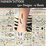 12 Premium Sheets Metallic Flash Temporary Tattoos - 150+ Shimmer Designs in Gold, Silver, Black - Temporary Fake Jewelry Tattoos - Bracelets, Feathers, Wrist & Arm Bands, Eyes,Peacock,Datura,Elephant,Butterfly etc