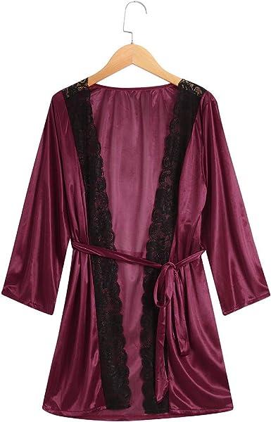 99AMZ Pijama Mujer Camisón Encaje Batas Kimono Algodón Túnica Ropa de Dormir Rojo Vino Talla Grande de Lencería Pijama para Mujer Ropa Encaje de Dormir Cuello V Abierta Pijama Lencería Erótica: Amazon.es: