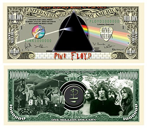 American Art Classics Pink Floyd Limited Edition $Million Dollar$ Collectible Bill in Currency Protector - Novelty Merchandise - Fun Collectable