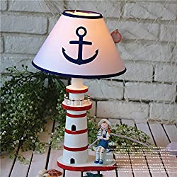 WW Mediterranean Style Bedroom Study Room Living Room House Decoration Table lamp Children Bedside lamp Large Wooden Lighthouse 45cm, 1
