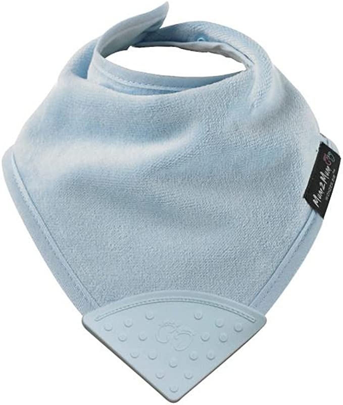 Mum2Mum Teething Bandana Wonder Bib RED 100/% Cotton with BPA Free Silicone Teething Chew Attached Super Absorbent Protects Against Eczema